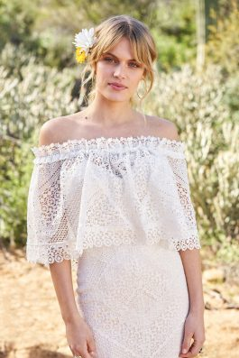 Aylah Wedding Dress back with lace crop front