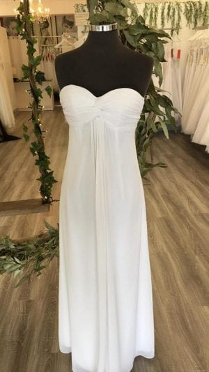 cheap simple white chiffon deb dress